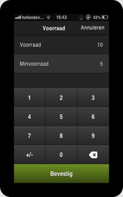 Op ieder device kun je per product de minimum voorraad invoeren